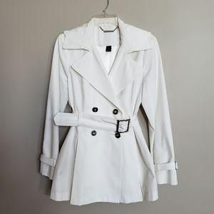 White House Black Market short white trenchcoat
